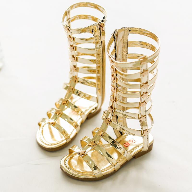 girls guld gladiator sandaler discount