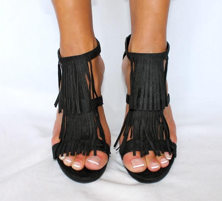 Black Fringe Sandals   CraftySandals.com