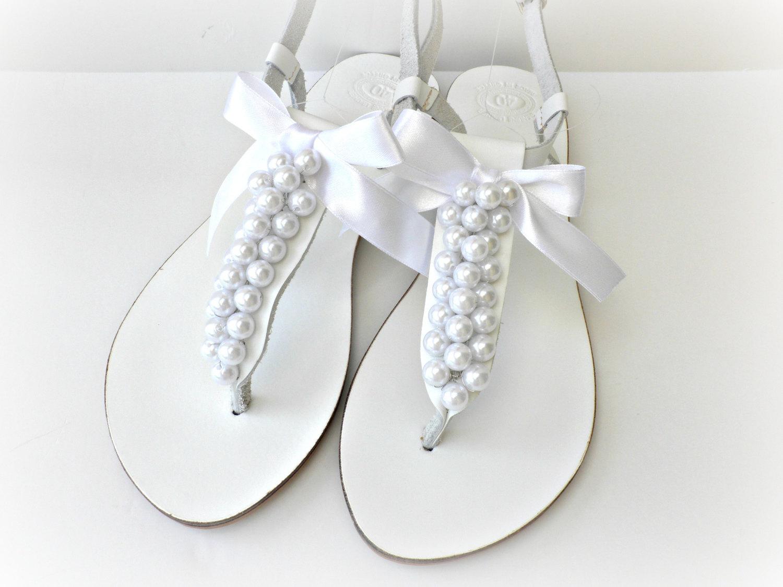 White Wedding Sandals   CraftySandals.com