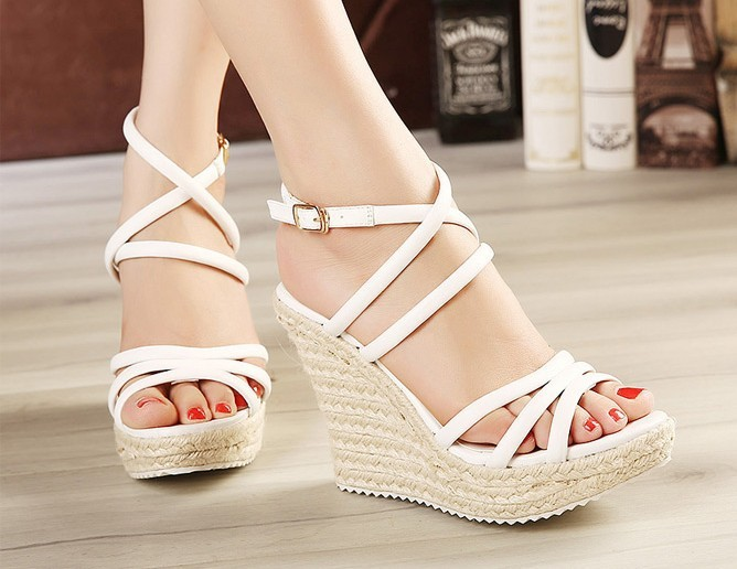 White Wedge Sandals | CraftySandals.com