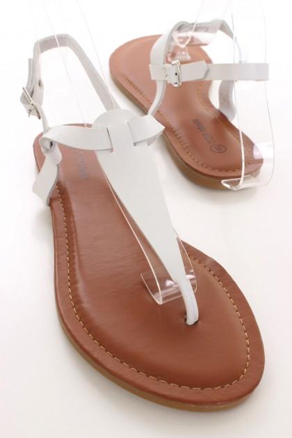 White T Strap Sandals | CraftySandals.com