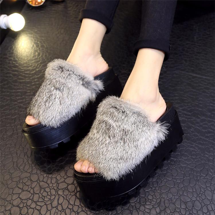 Fur Platform Sandals | CraftySandals.com