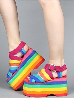 Rainbow Platform Sandals