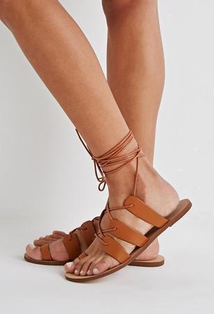 Tan Lace Up Sandals | CraftySandals.com