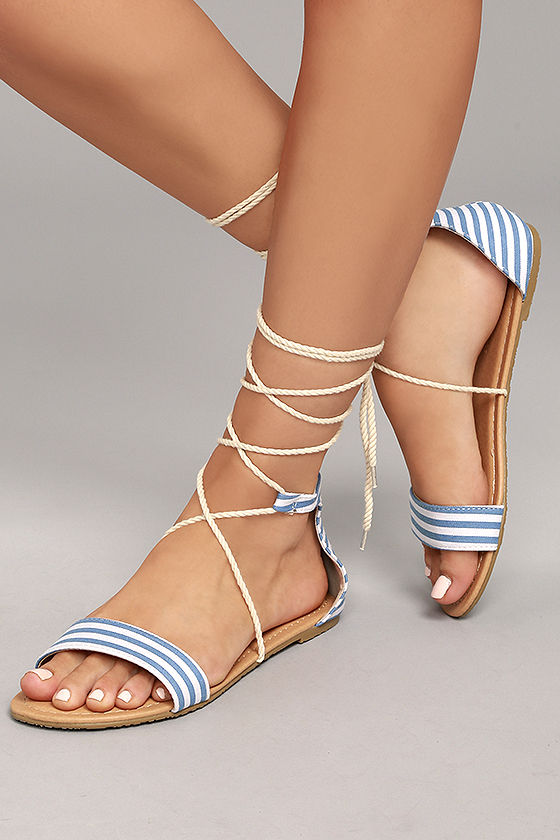 Blue and White Sandals | CraftySandals.com