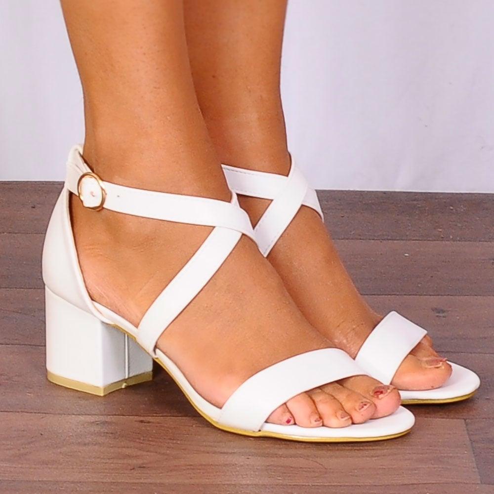 White Low Heel Sandals   CraftySandals.com
