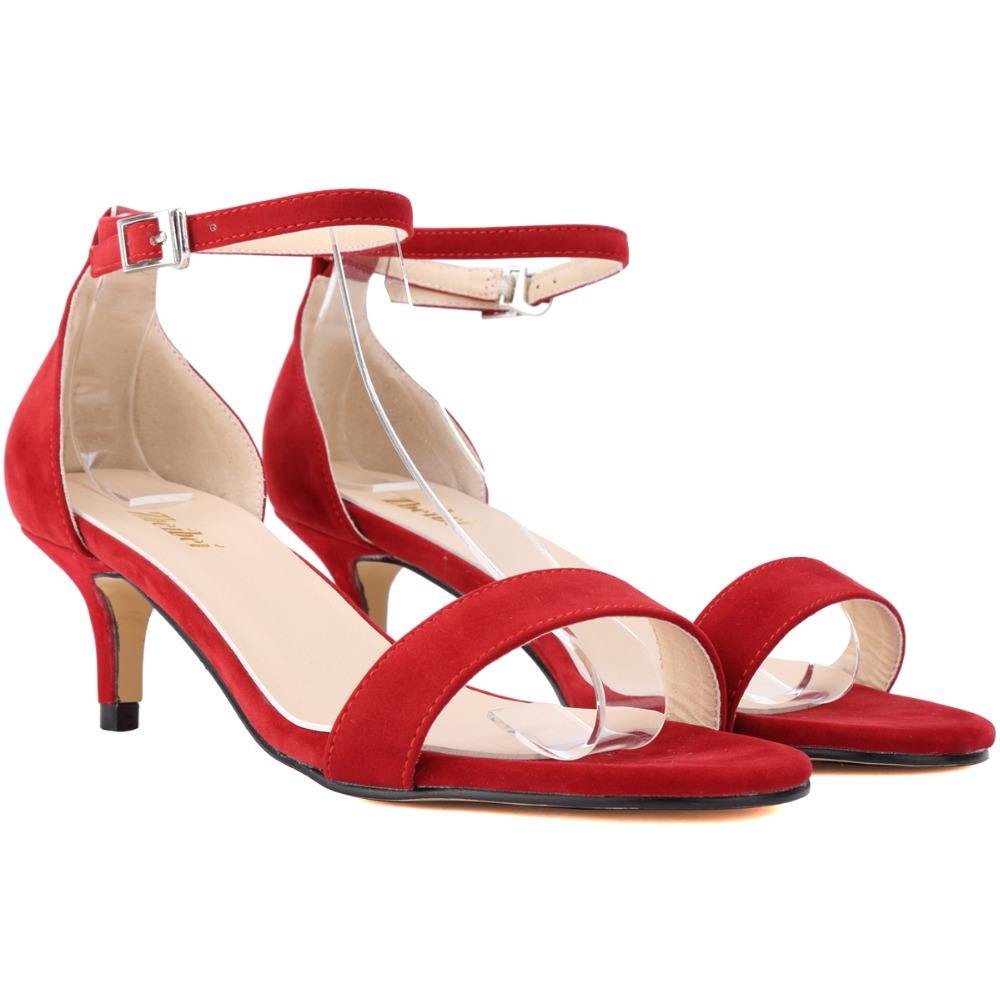 red small heel sandals