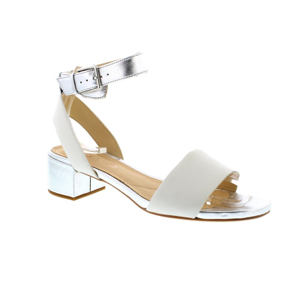 White and Silver Sandals